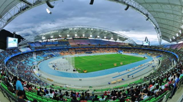 ws t/l shot of spectator in daegu stadium / daegu, daegu, south korea - daegu stock videos and b-roll footage