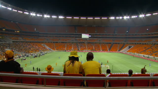WS Shot of spectators watching in soccer stadium / South Africa