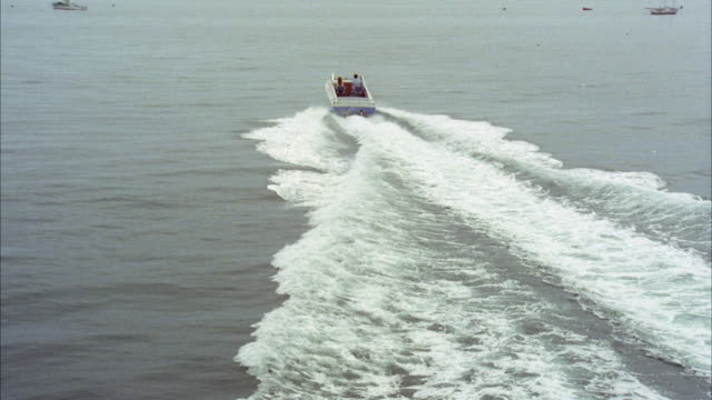 ms ts shot of speedboat in sea - wake water stock videos and b-roll footage