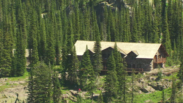 MS AERIAL ZO Shot of Sperry Chalet and Glacier National Park / Montana, United States