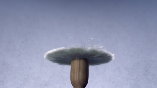 cu slo mo shot of spinning shaving brush, that creates dark pouder umbrella / munich, bavaria, germany - studio shot stock videos & royalty-free footage