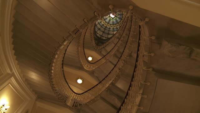 MS PAN Shot of Spiral staircase of Bristol hotel / Genoa, Liguria, Italie