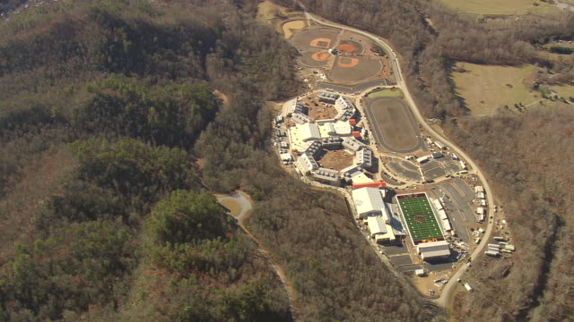 MS AERIAL Shot of sports ground near great smoky mountain national park / North Carolina, United States