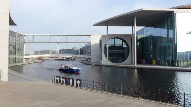 MS Shot of Spree river and Marie Elisabeth Luders Haus / Berlin, Germany