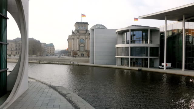 MS Shot of Spree river, Reichstag Building and Paul Lobe Haus / Berlin, Germany
