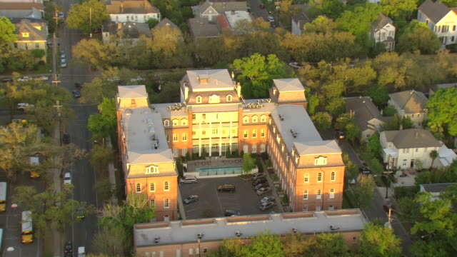 WS AERIAL Shot of st elizabeths building / New Orleans, Louisiana, United States