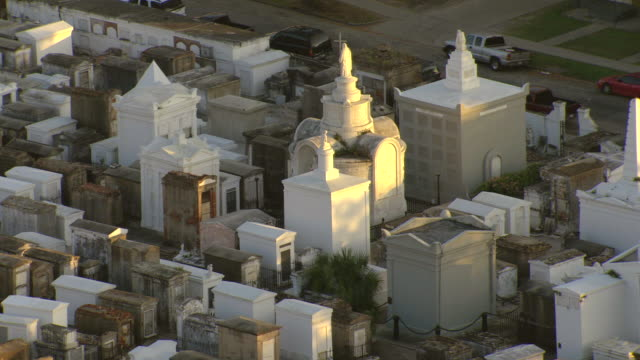 ms aerial shot of st louis cemetery / new orleans, louisiana, united states - cemetery stock videos & royalty-free footage
