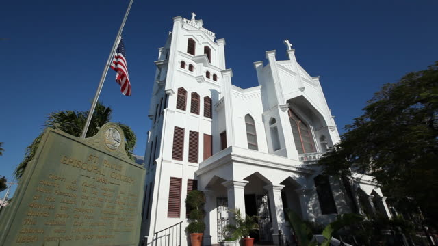 ms shot of st. paul's chuch  / key west, florida, united states - western script stock videos & royalty-free footage