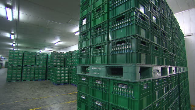 shot of stacked milk boxes at storage. - crate stock videos & royalty-free footage