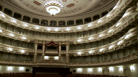 ws td shot of stage and auditorium at semperopera house / dresden, saxony, germany - theatre building stock videos & royalty-free footage