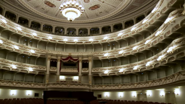 ws td shot of stage and auditorium at semperopera house / dresden, saxony, germany - オペラ座点の映像素材/bロール