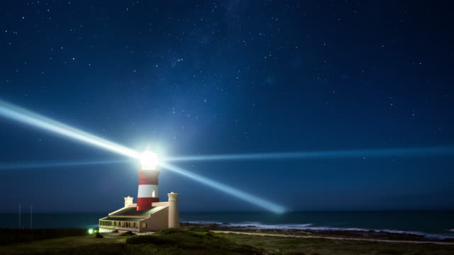WS T/L Shot of Stars on clear night at Cape Agulhas Lighthouse / Agulhas, Western Cape, South Africa