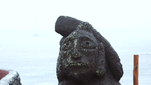 cu shot of statue head / rapa nui national park, easter island, chile  - maui stock videos & royalty-free footage