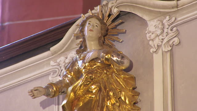 ms shot of statue in church / saarburg-beurig, rhineland palatinate, germany - christianity stock videos & royalty-free footage