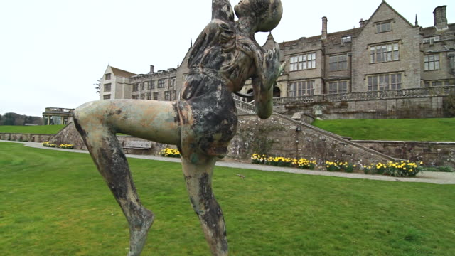 ms tu shot of statue in front of bovey castle / bovey, england, united kingdom - wiese stock videos & royalty-free footage
