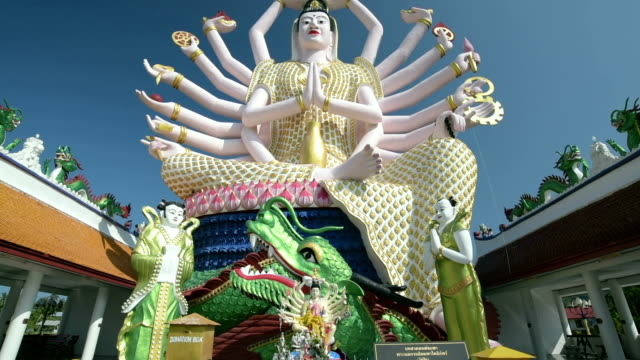 tu shot of statue of 18 armed guanyin, goddess of mercy - guanyin bodhisattva stock videos & royalty-free footage