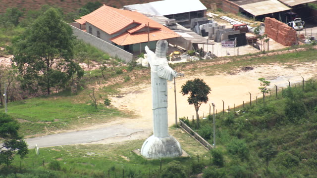 msaerial ts shot of statue of christ / minas gerais, brazil - minas gerais stock videos and b-roll footage