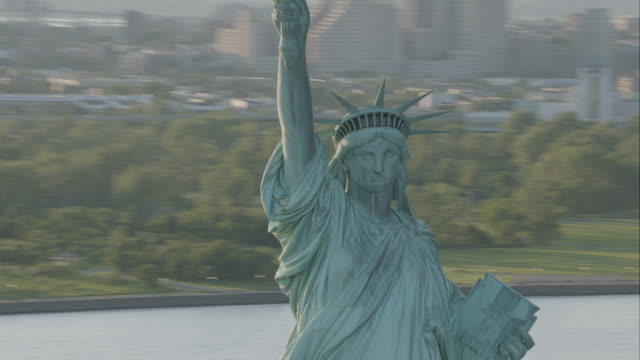 'WS ZI ZO AERIAL Shot of Statue Of Liberty / New York City, United States '