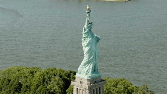 AERIAL MS DS Shot of statue of liberty / New York City