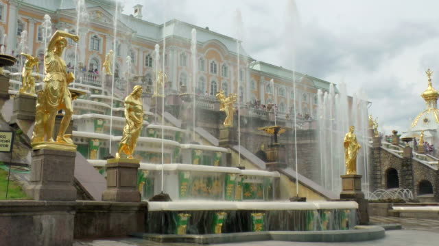 MS Shot of statues with samson fountain in Peterhof palace Summer Garden / St. Petersburg, Russia