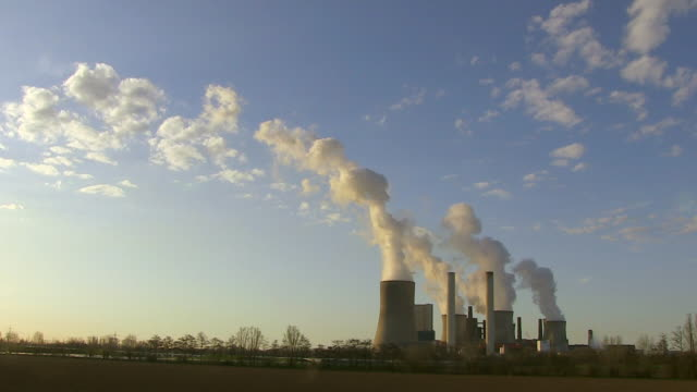 WS Shot of steam coming out from coal power plant RWE / Neurath, North Rhine Westphalia, Germany