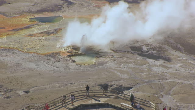 ms aerial ts shot of steam rising from clepsydra geyser in yellowstone national park and visitors walking near geyser / wyoming, united states - イエローストーン国立公園点の映像素材/bロール