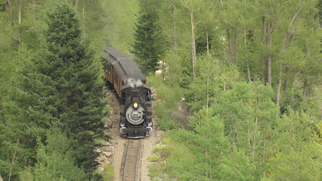MS AERIAL Shot of steam train traveling on track through forest / Telluride, Colorado, United States