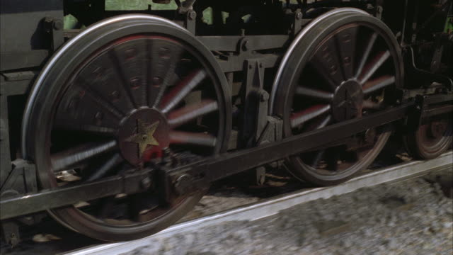 CU Shot of steam train wheels running on track