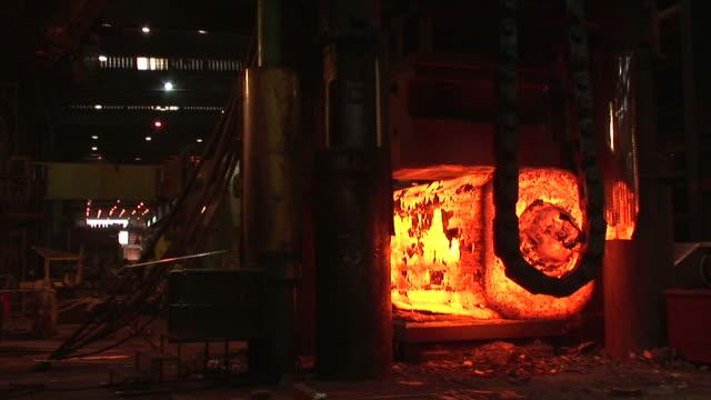 MS Shot of steel girders at forge, steel mill / Volklingen, Saarland, Germany