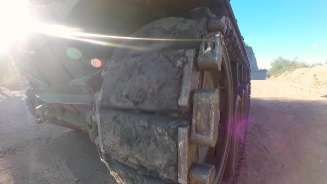 ecu pov shot of steel rollers moving m18 hellcat tank at shooting range / peoria, arizona, united states - tank stock videos & royalty-free footage