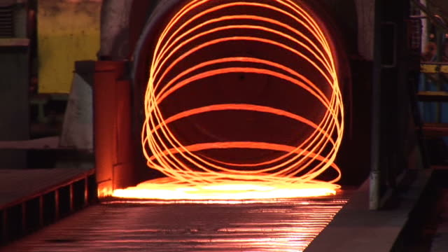 MS Shot of steel wire production at steel mill / Volklingen, Saarland, Germany