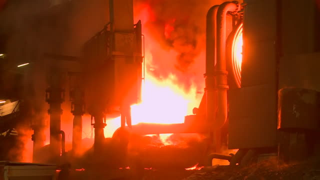 ms shot of steel works, converting furnace / esch sur alzette, esch, luxembourg - alloy stock videos & royalty-free footage