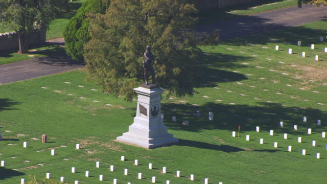 MS AERIAL ZO DS Shot of Sterling Price Monument at Springfield National Cemetery / Springfield, Missouri, United States