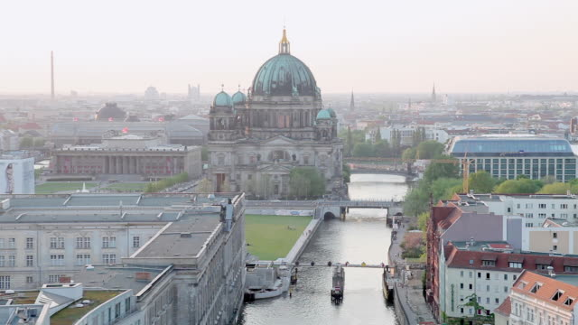 WS Shot of St.-Hedwigs-Kathedrale, Spree, Altes Museum / Berlin, Berlin, Germany