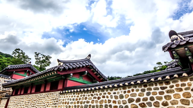 shot of stone wall in namhansanseong castle haenggung palace (korea historic place 480, unesco world heritage sites) - stone wall stock videos and b-roll footage