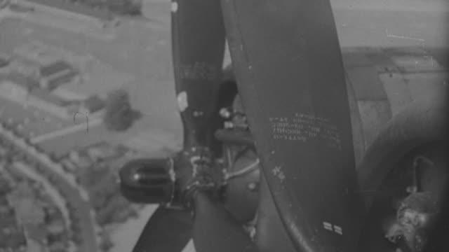 cu shot of stop propeller of flying airplane - propeller video stock e b–roll