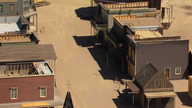 WS AERIAL ZI DS Shot of storefronts at Silverado Set in Santa Fe County / New Mexico, United States