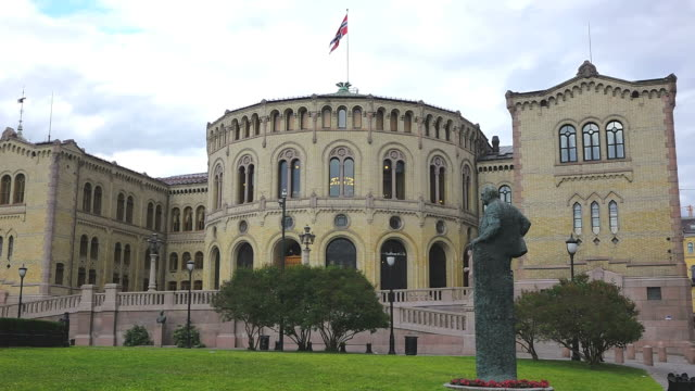 ms la shot of stortinget, seat of norway parliament / oslo, norway - parliament building stock videos & royalty-free footage