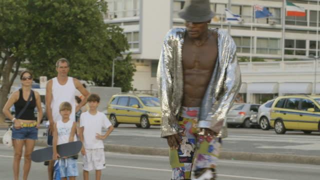 MS TS Shot of Street performer / Rio, Brazil