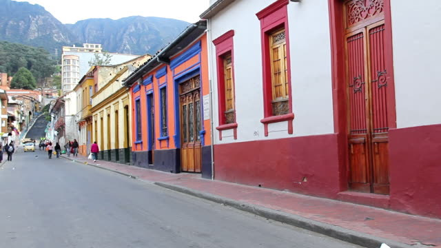 MS Shot of Street with people walking / Bogota, Colombia