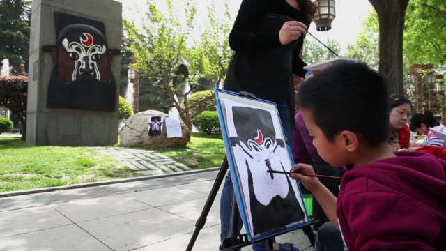 MS Shot of Students copying drawing of sculpture / Xian, Shaanxi, China
