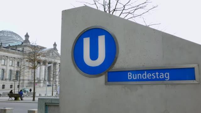 ms shot of subway station reichstag / berlin, germany - västerländsk text bildbanksvideor och videomaterial från bakom kulisserna