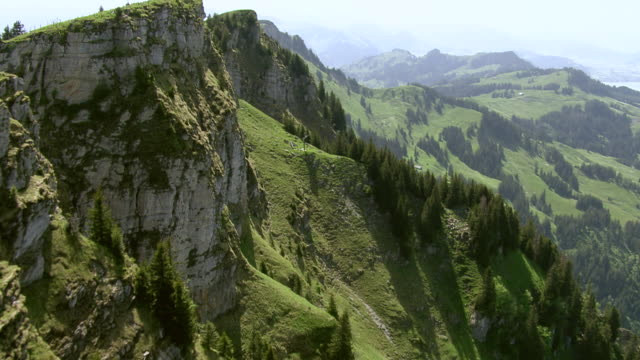 MS AERIAL Shot of summit with Chli Aubrig / Gross Aubrigy, Schwyz, Switzerland
