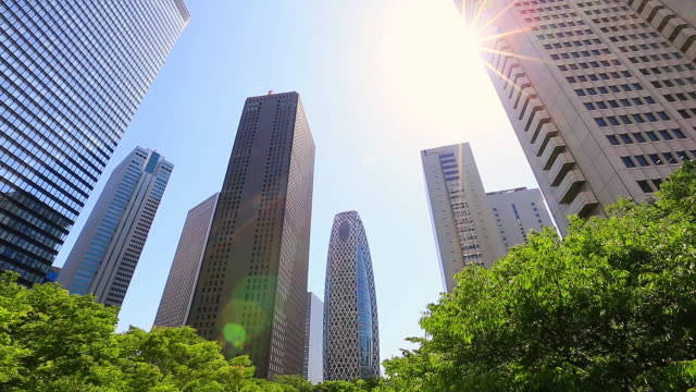 stockvideo's en b-roll-footage met ms shot of sun and skyscrapers behind waving fresh green trees at district of west shinjuku / shinjuku ku, tokyo, japan - financieel district