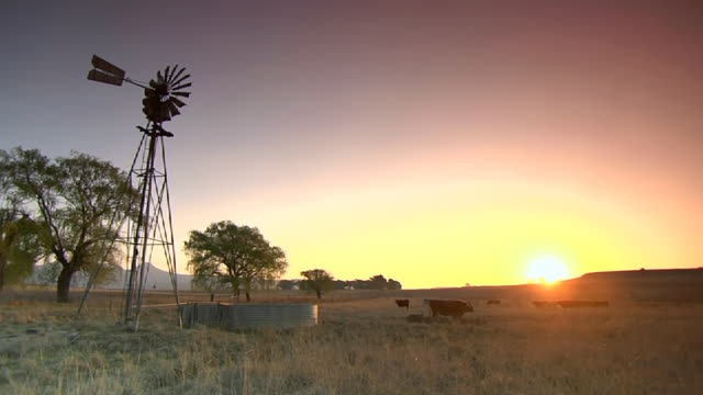 WS Shot of sun setting over piece of land / Free State, South Africa