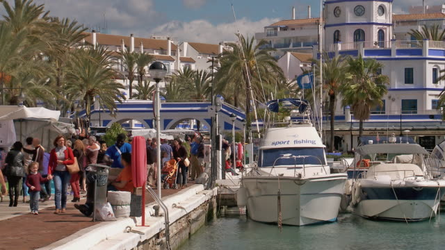 MS Shot of Sunday market at Estepona Port at Costa del Sol / Estepona,Espana, Malaga, Spain