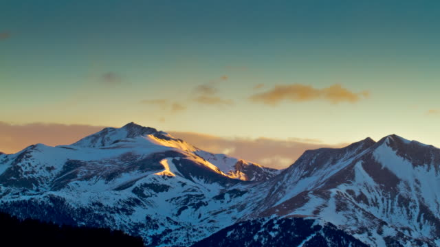 MS PAN T/L Shot of sunrise over pyreness mountains / Pyrenees, Spain