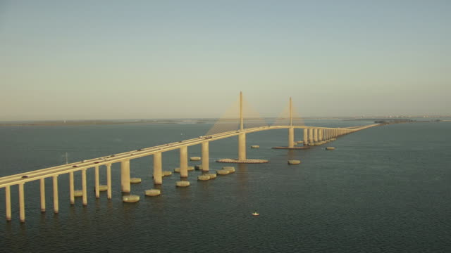 cu aerial ts shot of sunshine with skywalk bridge / florida, united states - causeway stock videos & royalty-free footage