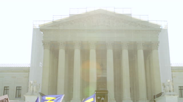 WS LA PAN TD Shot of Supreme Court building to crowd participating in marriage equality rally / Washington, District of Columbia, United States