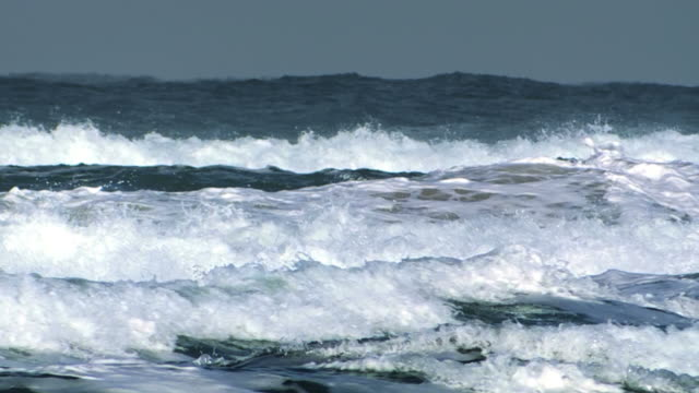 MS Shot of surging ocean waves breaking on shore / Ma'ayan Zvi, Carmel, Coast Israel